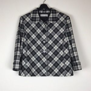 ASL Tahari White Black Plaid Blazer 16
